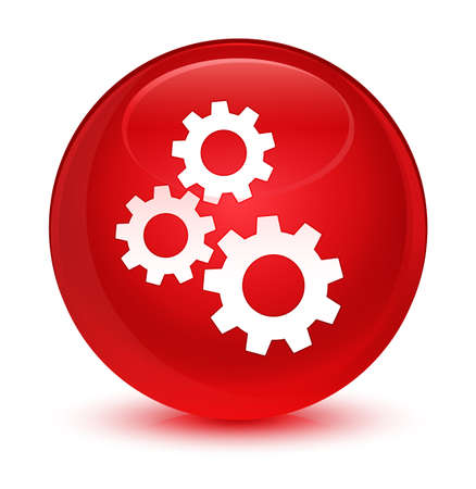 Gears icon isolated on glassy red round button abstract illustration