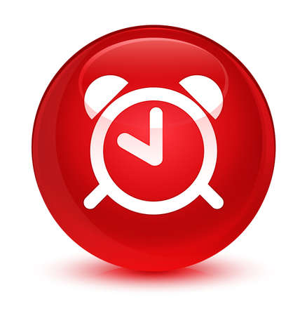 up time: Alarm clock icon isolated on glassy red round button abstract illustration Stock Photo