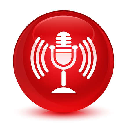 Mic icon isolated on glassy red round button abstract illustration Stock Photo