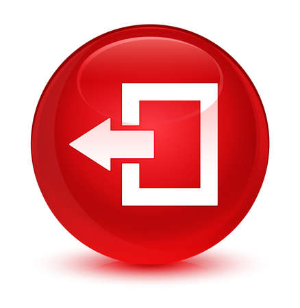 Logout icon isolated on glassy red round button abstract illustration