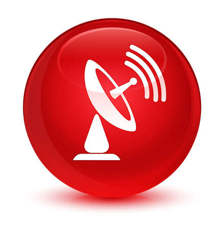 Satellite dish icon isolated on glassy red round button abstract illustration