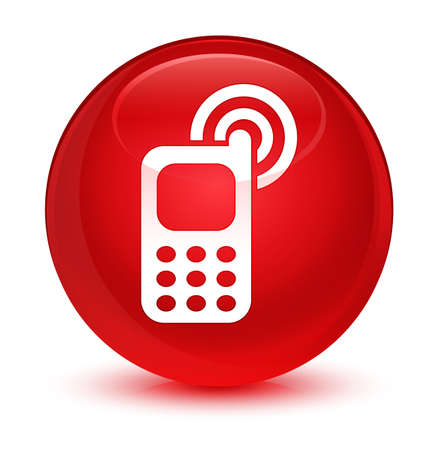mobile: Cellphone ringing icon isolated on glassy red round button abstract illustration