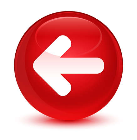 Back arrow icon isolated on glassy red round button abstract illustration Stock Photo