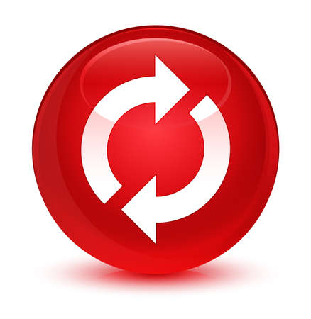 upgrade: Update icon isolated on glassy red round button abstract illustration