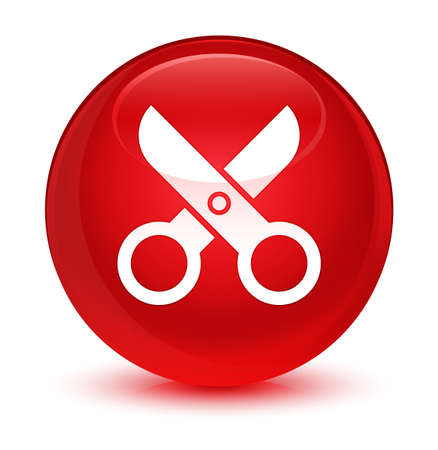 Scissors icon isolated on glassy red round button abstract illustration Stock Photo