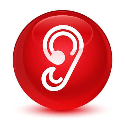Ear icon isolated on glassy red round button abstract illustration