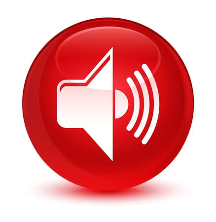 waves: Volume icon isolated on glassy red round button abstract illustration Stock Photo