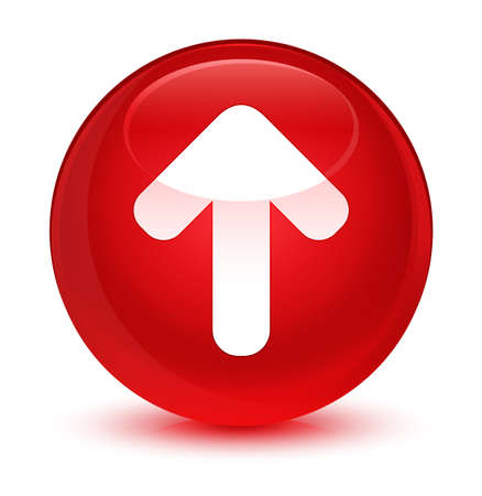 up load: Upload arrow icon isolated on glassy red round button abstract illustration