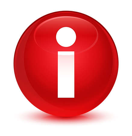 Info icon isolated on glassy red round button abstract illustration