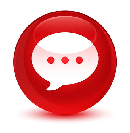 Conversation icon isolated on glassy red round button abstract illustration