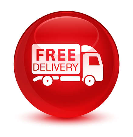 moving truck: Free delivery truck icon isolated on glassy red round button abstract illustration