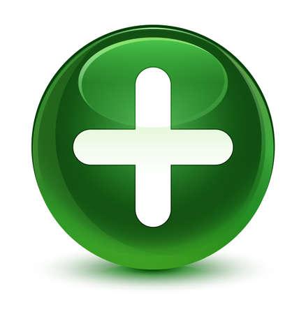 유리 부드러운 녹색 라운드 단추 그림에서 격리하는 더하기 아이콘 스톡 콘텐츠