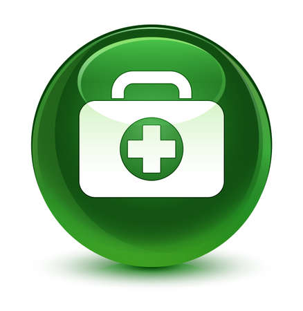 medical illustration: First aid kit bag icon isolated on glassy soft green round button abstract illustration