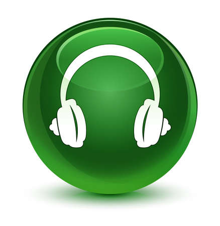 earphone: Headphone icon isolated on glassy soft green round button abstract illustration