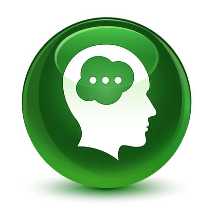 face to face: Brain head icon isolated on glassy soft green round button abstract illustration