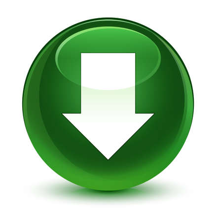 Download arrow icon isolated on glassy soft green round button abstract illustration