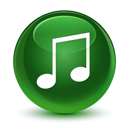 Music icon isolated on glassy soft green round button abstract illustration Stock Photo
