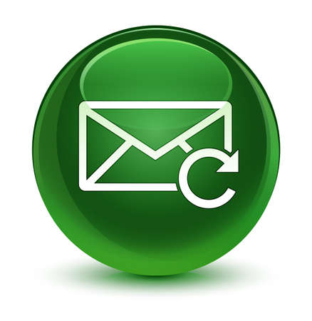 Refresh email icon isolated on glassy soft green round button abstract illustration Stock Photo