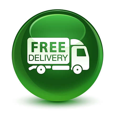 truck: Free delivery truck icon isolated on glassy soft green round button abstract illustration