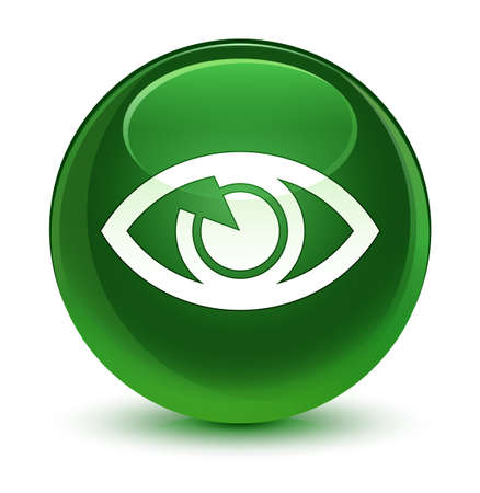 view: Eye icon isolated on glassy soft green round button abstract illustration