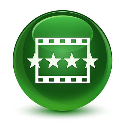 Movie reviews icon isolated on glassy soft green round button abstract illustration