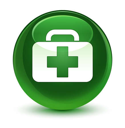 Medical bag icon isolated on glassy soft green round button abstract illustration