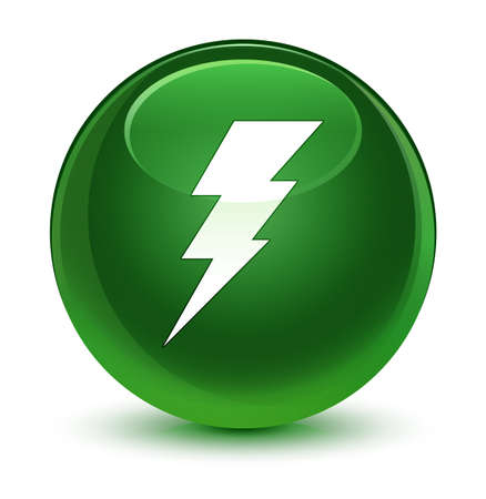 bolt: Electricity icon isolated on glassy soft green round button abstract illustration