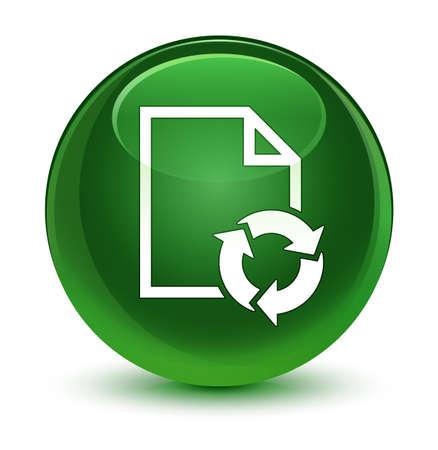 Dokumentieren Sie die Prozessikone, die auf glasiger weicher grüner runder Knopfzusammenfassungsillustration lokalisiert wird