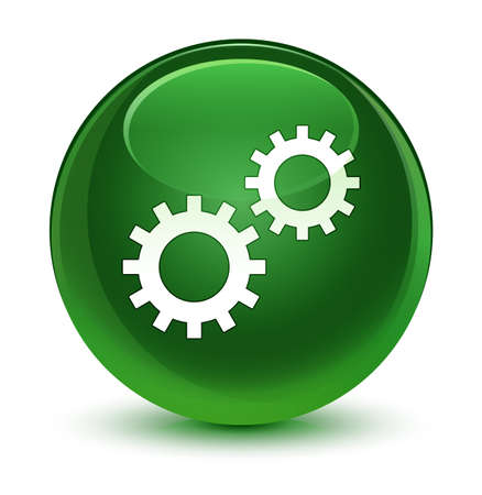 gearwheels: Process icon isolated on glassy soft green round button abstract illustration Stock Photo