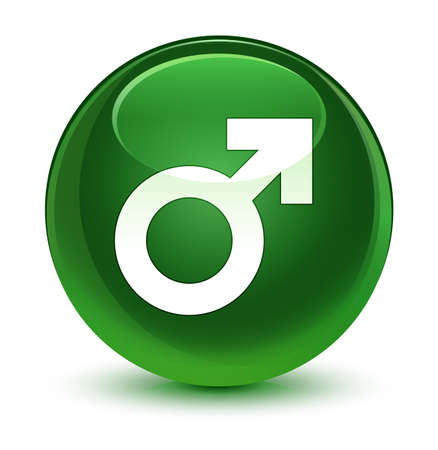nackter junge: Male sign icon isolated on glassy soft green round button abstract illustration Lizenzfreie Bilder