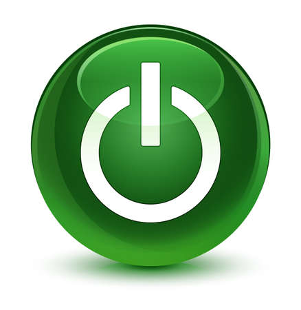 shutdown: Power icon isolated on glassy soft green round button abstract illustration Stock Photo