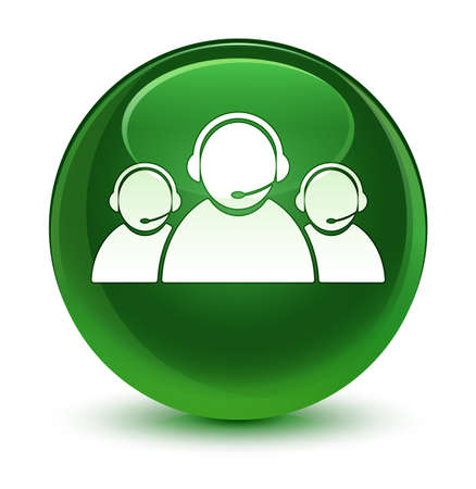 Customer care team icon isolated on glassy soft green round button abstract illustration