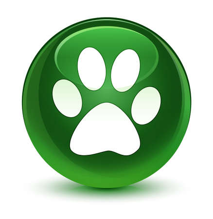 Animal footprint icon isolated on glassy soft green round button abstract illustration