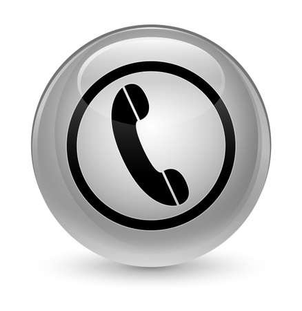 telephone: Phone icon isolated on glassy white round button abstract illustration Stock Photo