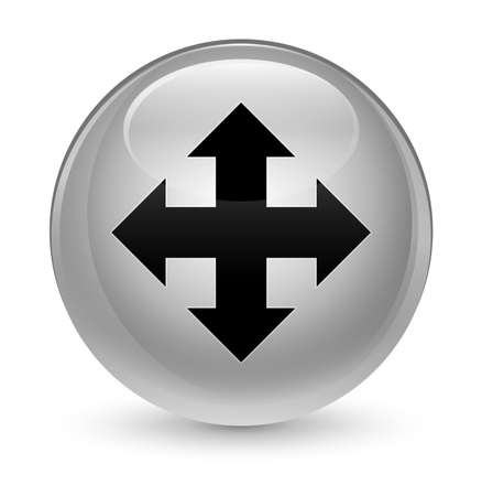 Move icon isolated on glassy white round button abstract illustration