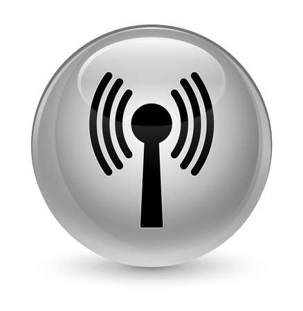 Wlan réseau icône isolé sur vitreux rond bouton abstrait illustration Banque d'images - 81277088