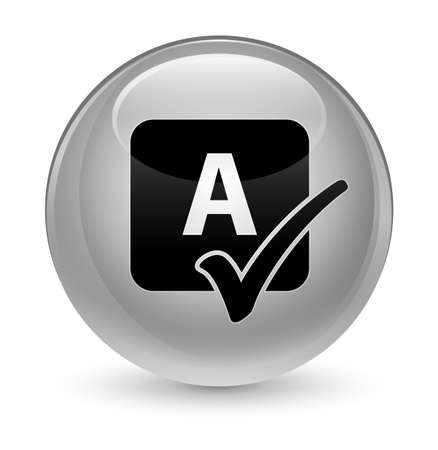 review: Spell check icon isolated on glassy white round button abstract illustration Stock Photo