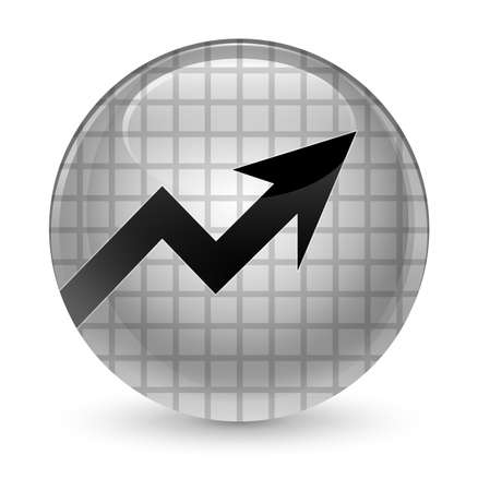 report icon: Business graph icon isolated on glassy white round button abstract illustration