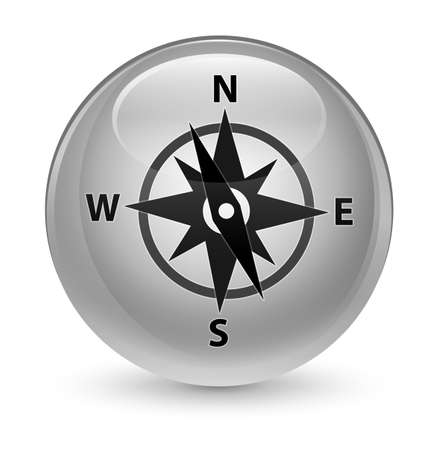 compass rose: Compass icon isolated on glassy white round button abstract illustration