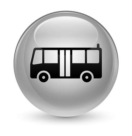 school: Bus icon isolated on glassy white round button abstract illustration
