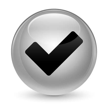 valid: Validate icon isolated on glassy white round button abstract illustration