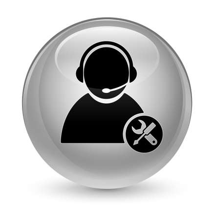 Tech support icon isolated on glassy white round button abstract illustration