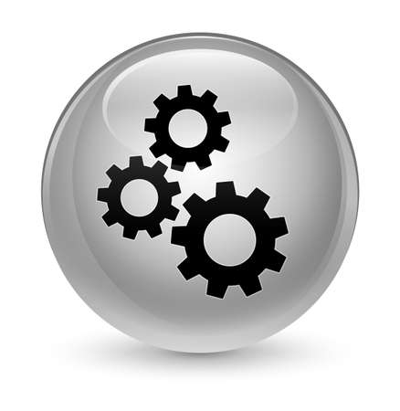 Gears icon isolated on glassy white round button abstract illustration