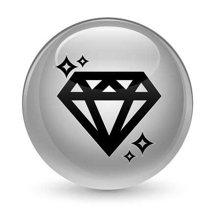 diamond stones: Diamond icon isolated on glassy white round button abstract illustration Stock Photo