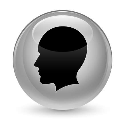 face to face: Head men face icon isolated on glassy white round button abstract illustration Stock Photo