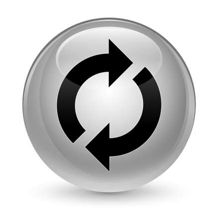 Update icon isolated on glassy white round button abstract illustration Stock Photo