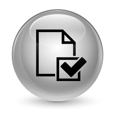 report icon: Checklist icon isolated on glassy white round button abstract illustration