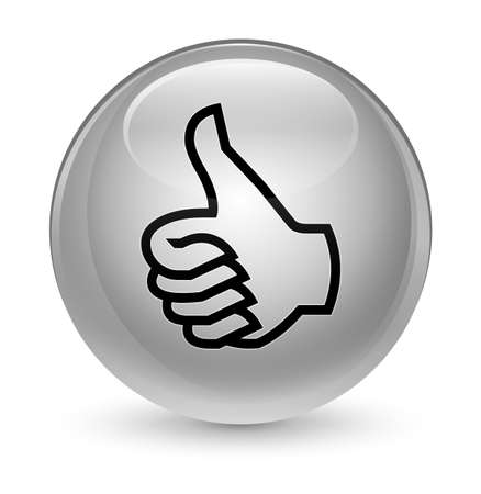 fingers: Like icon isolated on glassy white round button abstract illustration Stock Photo