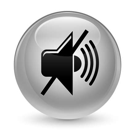waves: Mute volume icon isolated on glassy white round button abstract illustration