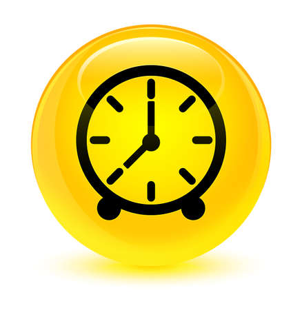 Clock icon isolated on glassy yellow round button abstract illustration